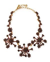 Oscar de la Renta - Purple Crystal Flower Necklace - Lyst