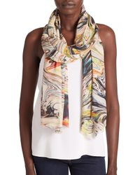 Bindya - Natural Ink-Print Silk & Cashmere Scarf - Lyst