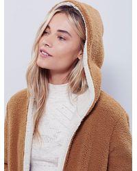 Free People - Brown Reversible Cozy Hooded Jacket - Lyst