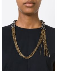 Lanvin - Metallic Contrasting Panel Necklace - Lyst