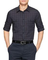 Calvin Klein - Black Plaid Sportshirt for Men - Lyst