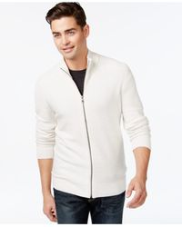 INC International Concepts | White Mock-neck Full-zip Sweater for Men | Lyst