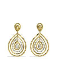 David Yurman   Metallic Cable Classics Drop Earrings With Diamonds In Gold   Lyst