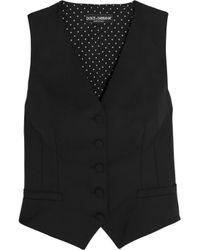 Dolce & Gabbana - Black Crepe De Chine-paneled Wool-blend Vest - Lyst