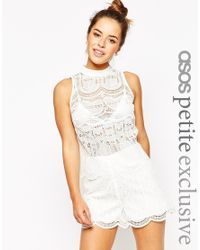 ASOS - High Neck Top In Lace - White - Lyst