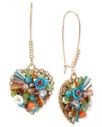 Betsey Johnson | Metallic Gold-tone Multicolor Woven Heart Drop Earrings | Lyst