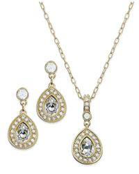 Swarovski | Metallic 22K Gold-Plated Crystal Pendant Necklace And Drop Earrings | Lyst