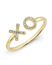 Anne Sisteron | 14kt Yellow Gold Diamond Xo Ring | Lyst