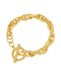 T Tahari - Metallic Goldtone Interlocking Link Toggle Bracelet - Lyst