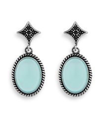 Platadepalo - Blue Classic Silver & Chalcedony Earrings - Lyst