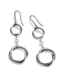 David Yurman | White Infinity Doubledrop Earrings with Pearls | Lyst