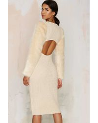 Nasty Gal - Natural Sleeve Me Alone Knit Dress - Lyst