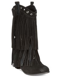 Naughty Monkey | Black Kickin' It Western Fringe Booties | Lyst
