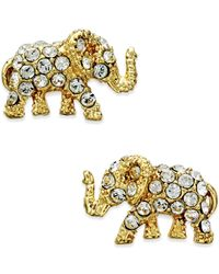 kate spade new york | Metallic Gold-tone Pavé Elephant Stud Earrings | Lyst