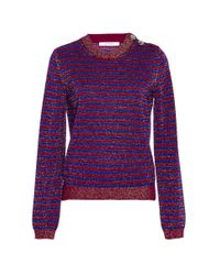 Carven | Blue Bicolor Striped Lurex Sweater | Lyst
