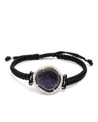 Kimberly Mcdonald - Blue 18K Gold, Geode And Diamond Macramé Bracelet - Lyst