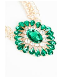Missguided - Green Megana Oversized Gem Statement Necklace - Lyst
