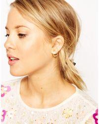 ASOS | Metallic Simple Metal Ball Double Earrings | Lyst