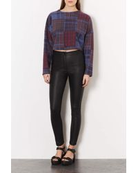 TOPSHOP - Black Petite Leather Look Highwaisted Trousers - Lyst