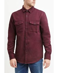 Forever 21 | Red Cotton Twill Shirt for Men | Lyst