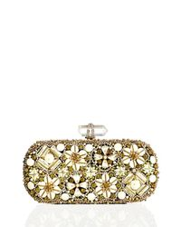 Marchesa - Metallic Lily Enamel & Crystal Embroidered Clutch Bag - Lyst