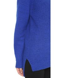 DKNY - Blue Pure Long Sleeve Mock Neck Pullover - Chalk/black - Lyst