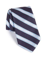 Ike Behar | Blue Stripe Cotton & Silk Tie for Men | Lyst