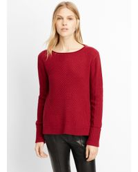 Vince - Red Wool Cashmere Directional Rib Boatneck Sweater - Lyst