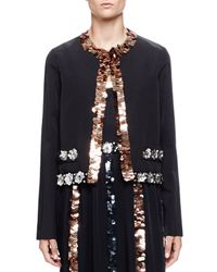 Lanvin - Black Sequin-Trimmed Faille Jacket - Lyst
