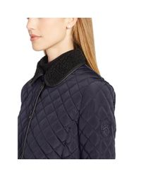 Ralph Lauren | Blue Faux-shearling Quilted Jacket | Lyst