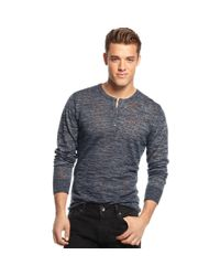 Guess | Blue Duke Longsleeve Henley for Men | Lyst
