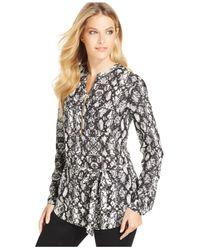 Calvin Klein | Gray Snakeskin-print Half-zip Top | Lyst
