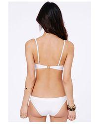 Missguided - Manolita Gold Leopard Bandeau Bikini In White - Lyst
