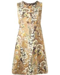 Dolce & Gabbana | Brown Floral Jacquard Dress | Lyst