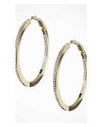 Express | Metallic Rhinestone Hoop Earrings | Lyst
