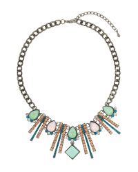 Mikey | Metallic Lighting Drops Crystal Linked Choker | Lyst