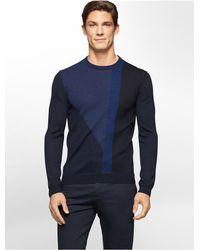 Calvin Klein - Blue White Label Colorblock Merino Wool Sweater for Men - Lyst