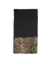 Ralph Lauren - Black Leopard-print Wool-blend Scarf - Lyst