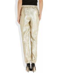 Stella McCartney | Gold Christine Silk Blend Lamé Tapered Pants | Lyst