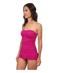Lauren by Ralph Lauren | Pink Laguna Solids Twist Shirred Skirted Slimming Fit One-piece | Lyst