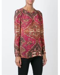 Tory Burch - Red Print Blouse - Lyst
