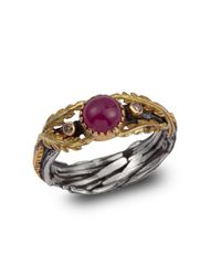 Emma Chapman Jewels | Pink Lattice Ruby & Diamond Gold Ring | Lyst