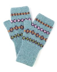 Quinton-chadwick | Blue Teal Fingerless Wool Mittens | Lyst