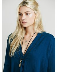 Free People - Blue Fp Collection Womens Embr Deep V Pocket Tunic - Lyst