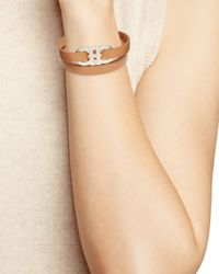 Ferragamo - Brown Double Gancini Triple Wrap Oro Bracelet - Lyst