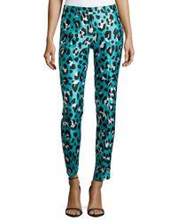 Michael Kors - Blue Samantha Leopard-print Skinny Pants - Lyst