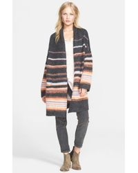 Free People - Gray Stripe Alpaca Blend Coat - Lyst