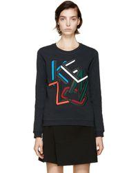 KENZO | Multicolor Teal Logo Sweatshirt | Lyst