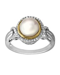 Lord & Taylor | Metallic Sterling Silver And 14kt. Yellow Gold Freshwater Pearl And Diamond Ring | Lyst