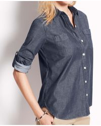 Ann Taylor - Black Petite Chambray Camp Shirt - Lyst